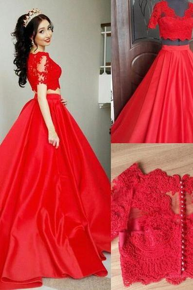 Two Pieces Quinceanera Dresses,Long Sleeves Prom Dress,Cheap Red Ball Gown Prom Dresses ,Short Sleeves Lace Prom Dresses,Two Pieces V Neck Prom Gowns,Red Quinceanera Dresses,Custom Made High Quality Evening Gown Dress