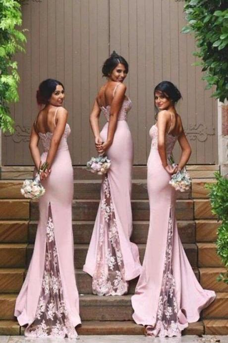 Spaghetti Straps Lace Bridesmaid Dress,New Arrival Pink Bridesmaid Dresses 2018,High Quality Mermaid Bridesmaid Dresses,See Through Back Bridesmaid Gowns,Custom Made Wedding Party Dress,Long Bridesmaid Dress