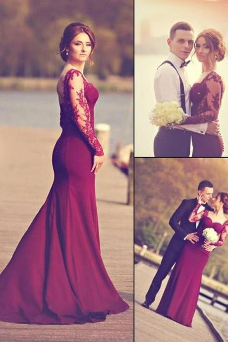 Long Sleeves Prom Dresses,Burgundy Lace Open Back Prom Dress,Cheap Prom Dress,Mermaid Prom Dresses, Custom Made Evening Prom Dress,Cheap Backless Evening Prom Gowns,Graduation Dress
