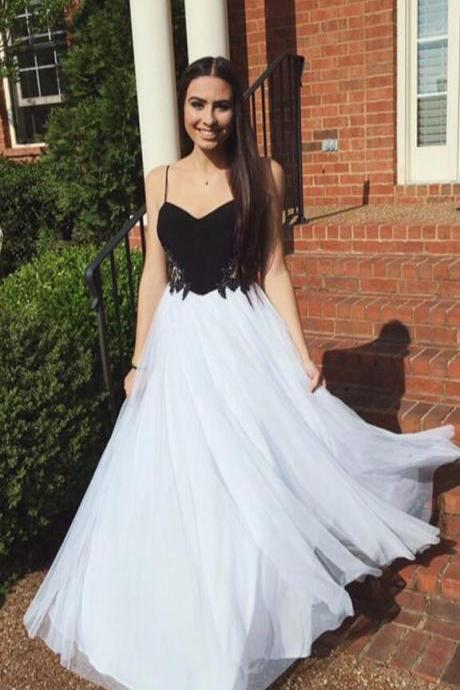 Charming Prom Dress,A Line Princess White and Black Prom Dress,Cheap Prom Dress, Chiffon Prom Dress,Spaghetti Straps Sweetheart Long Prom Dresses,Beaded Evening Gowns,Cheap Prom Gowns,Sweet 16 Dresses