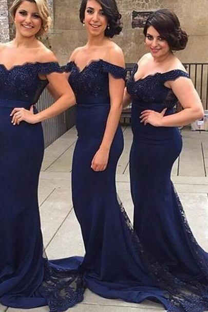 Navy Blue Lace Bridesmaid Dress, Dark Blue Long Bridesmaid Dress, Mermaid Bridesmaid Dresses,Open Back Bridesmaid Gowns,Mermaid Prom Evening Dresses,Formal Women Dresses