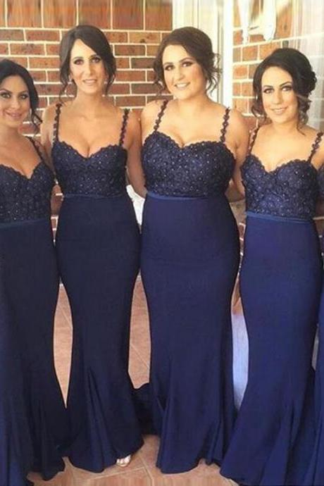 Dark Blue Lace Bridesmaid Dresses, Mermaid Beaded Long Bridesmaid Gowns,High Quality Sheath Evening Prom Dresses,Formal Women Dresses.Wedding Party Dress,Prom Gowns