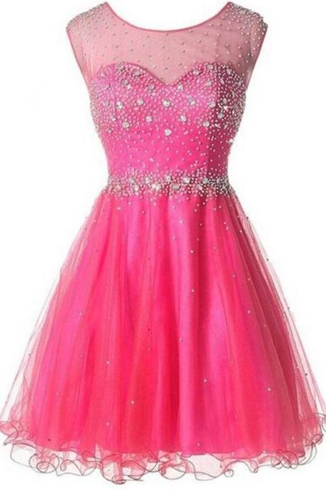 Hot Pink Prom Dress,Tulle Prom Dress, High Neck Backless Homecoming Dresses ,Open Back Beaded Homecoming Dress,Short Prom Dresses,Wedding Party Dress,Sweet 16 Dress,Short Homeocoming Gowns