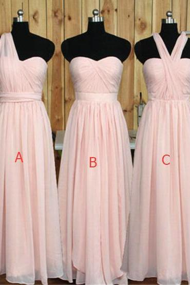 Simple Pink Bridesmaid Dresses, Chiffon Long Bridesmaid Dress,Cheap Bridesmaid dress , Custom Made Cheap Bridesmaid Gowns,Elegant Prom Dresses,Wedding Party Dresses,Graduation Dresses,Prom Gowns