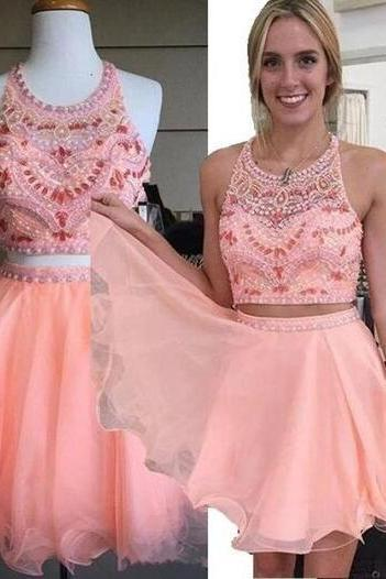 Bodice Beading Homecoming Gowns,Short Prom Dresses,2 Pieces Homecoming Dresses,Blush Pink Sweet 16 Dress,Short Homecoming Dress,2 pieces Cocktail Dress,Two Pieces Evening Gowns,Graduation Dresses