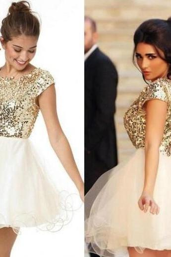 Champagne Sequin Homecoming Dresses ,Cheap Prom Dress, Cap Sleeves Homecoming Dress,Back V Short Prom Dresses,Charming Party Dresses, Sweet 16 Dresses,Glitter Formal Dress,Mini Length Graduation Dresses