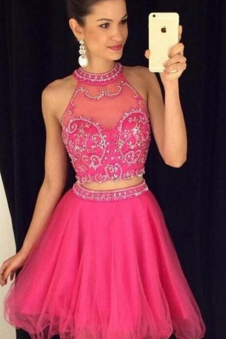 Charming Prom Dress,2 Pieces Homecoming Dresses,Tulle Prom Dress, Hot Pink Homecoming Dresses,Short Prom Gown,Pink Sweet 16 Dress,High Neck Homecoming Dress,2 pieces Cocktail Dresses,Two Pieces Prom Dresses,Beaded Homecoming Gowns