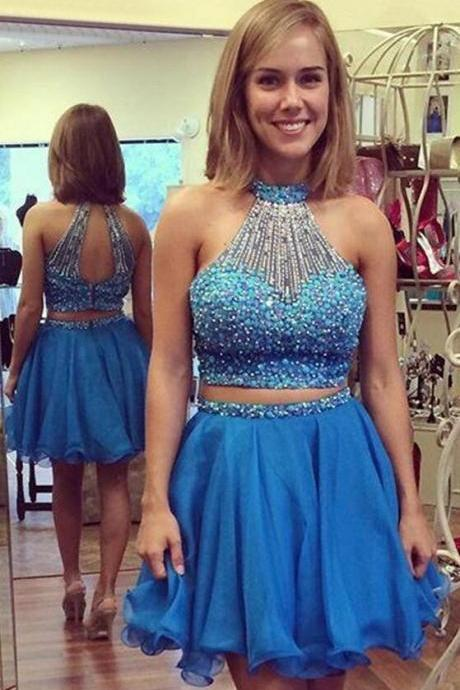 High Neck Blue Short Homecoming Dresses ,2 Pieces Homecoming Dresses,Sexy Prom Gown, Two Pieces Homecoming Dress,Sexy Backless Short Prom Dresses,Open Back Cocktail Dresses, Sweet 16 Dress