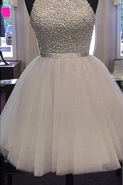 High Neck Homecoming Dress, White Tulle Prom Dress, Skirt Homecoming Dresses,Back O Short Homecoming Dresses,Custom Made Short Prom Dresses ,Beaded Short Prom Gowns,Short Graduation Dresses,Wedding Party Dress