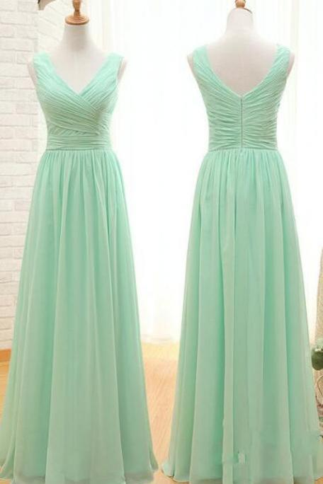 Chiffon Bridesmaid Dresses, Long Bridesmaid Dresses,Simple Prom Dress, V Neck Cheap Bridesmaid Dresses,Cheap Bridesmaid Dress, Ruffles Custom Made Bridesmaid Dress,Elegant Mint Prom Dress