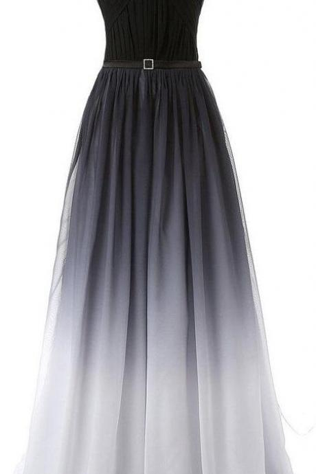 Hot Sales Sexy Prom Dress, Navy Blue Prom Dress,Cheap Prom Dress, Gradient Chiffon Long Prom Dresses,Black Belt Ombre Evening Dress,Black Gradient Bridesmaid Dresses.Custom Made Cheap Prom Gowns,Formal Women Dresses