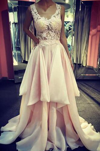 Pale Pink Lace Prom Dresses 2018,Off the Shoulder See Through Prom Gowns,High Low Tired Evening Prom Dress,Wedding Party Gown