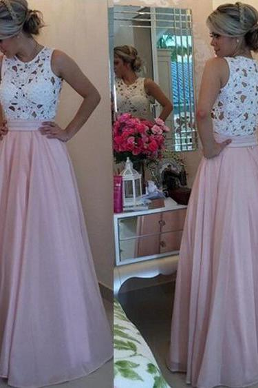White Lace Prom Dress, Pink Prom Dresses, Long Prom Dress, High Neck See Through Prom Dress,High Quality Prom Gowns,Formal Women Dress,Cheap Evening Gown