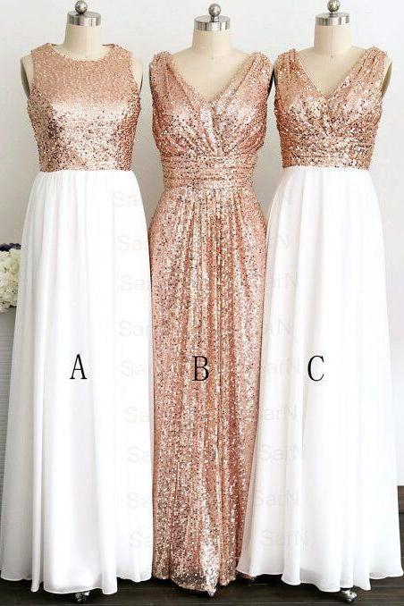 Rose Gold Prom Dress, Sequin Prom Dress, White Chiffon Bridesmaid Dresses,V Neck Sexy Long Bridesmaid Dress,Elegant Bridesmaid Gowns,Simple Prom Dresses,Graduation Dress