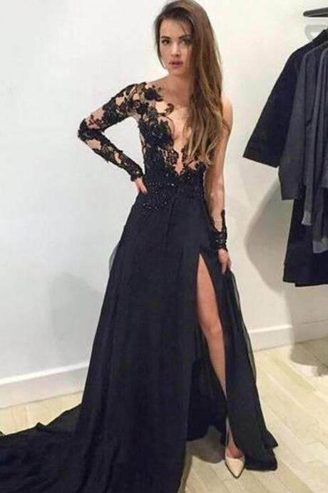 Black Lace Long Sleeves Prom Dresses,Deep V Neck Prom Dresses,Front Split Prom Dresses 2018,Sexy Evening Prom Gowns,Formal Women Dress