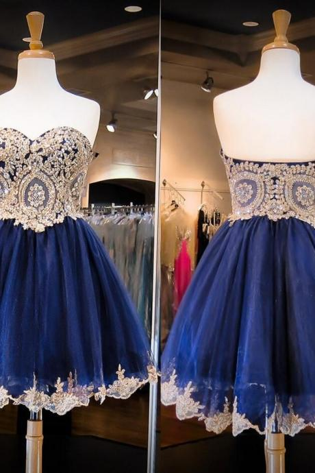 Sweetheart Homecoming Dress, Gold Lace Homecoming Dress, Dark Blue Homecoming Dress Navy Blue Short Prom Dress,A Line Mini Length Graduation Dresses