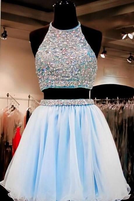 Two Pieces Light Blue Homecoming Dress,Short Prom Dresses , Cheap Homecoming Dress, High Neck Open Back Rhinestones Mid Section Sky Blue Homecoming Dresses,Wedding Party Dress