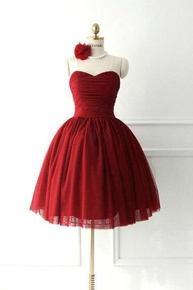 Simple Dark Red Prom Dress,Tulle Sweetheart Short Prom Dress ,Ball Gown Homecoming Dress,Cheap Homecoming Dress, Burgundy Homecoming Dress Mini Length Party Gown Bridesmaid Dress Cocktail Dresses