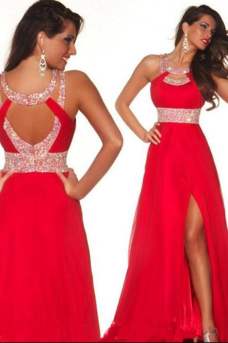 Chiffon Backless Prom Dress, Front Split Red Long Prom Dress,Top Selling A-Line Off the Shoulder Open Back Prom Dresses,Custom Made Evening Dress,Beaded Prom Gown,Formal Prom Dress,Formal Women Dress