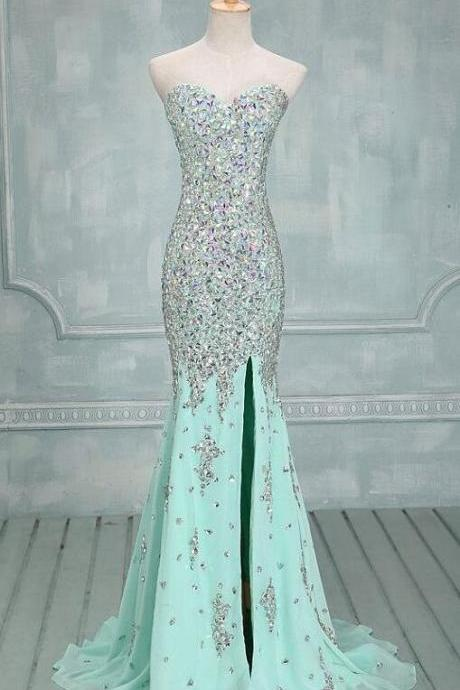 Sexy Sweetheart Front Split Mint Chiffon Trumpet Prom Dresses,High Quality Mermaid Rhinestones Long Prom Dress Prom Dress 2018, Evening Dress, Evening Prom Gown,Wedding Dress