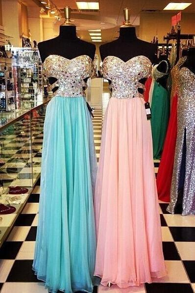 open back pink full length prom dresses,A line sweetheart blue long chiffon prom dress,empire waist backless formal women chiffon dress,evening dress,evening prom gown