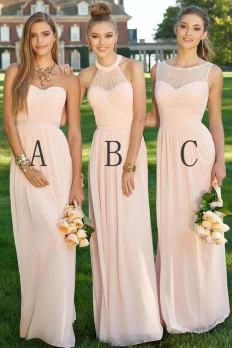Blush Pink Bridesmaid Dresses, Cheap Bridesmaid Dress, Wedding Party Dress, Chiffon Bridesmaid Dresses, Long Bridesmaid Dress, Beautiful Bridesmaid Dresses, Bridesmaid Dress