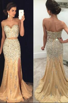 Champagne Prom Dress, Sexy Split Side Prom Dress, Luxury Beading Prom Dress, Two-piece Prom Dresses, Mermaid Evening Dress,Long Prom Dresses,Sweetheart Prom Dress