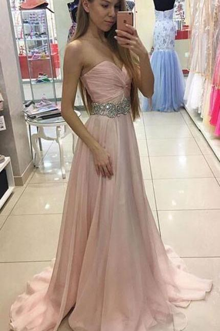 Pink Prom Dresses,Sweetheart Beading Prom Dress,Cheap Prom Dress,Mermaid Prom Dress,Sexy Evening Dress, Chiffon Formal Gown,Long Party Dress,A Line Prom Gown,Prom Dress
