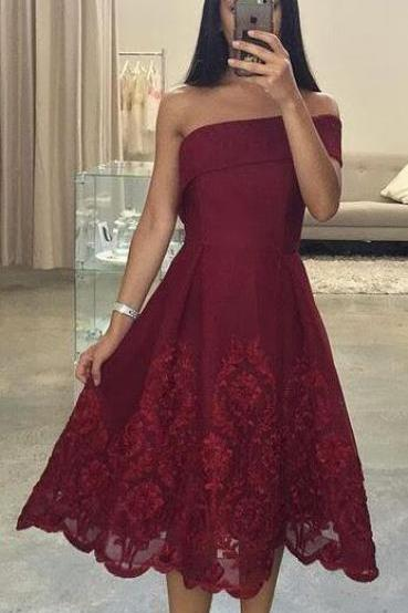 Asymmetric Neck Prom Dress, One Shoulder Prom Dress, Sexy Short Prom Dress, Cheap Prom Dress,Burgundy Prom Gown, Short Evening Dress, Short Formal Dress, Lace Party Dress