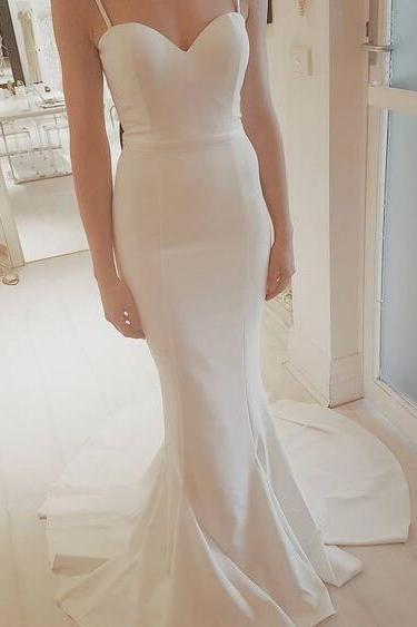 Sexy Speghetti Straps Prom Dress, Simple Prom Dress, Mermaid Wedding Dresses, White Wedding Dress, Mermaid Prom Dress, Simple Wedding Dress,Long Wedding Dresses
