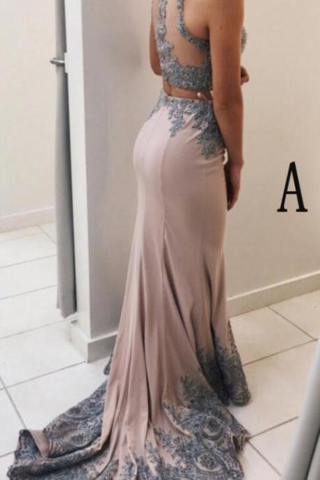 Two Pieces Prom Dresses,Lace Prom Dress,Sexy Evening Dress,Mermaid Prom Dresses,Sweep Train Two Pieces Evening Dresses,Senior Prom Dress
