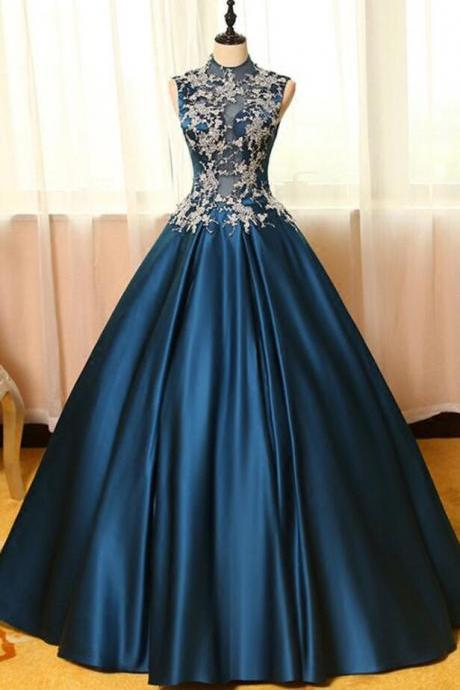 Blue Ball Gown Prom Dresses,Stain Prom Dress, lace applique Prom Dress,A-line long prom dresses,ball gown dresses,Prom Dress,Quinceanera Dresses