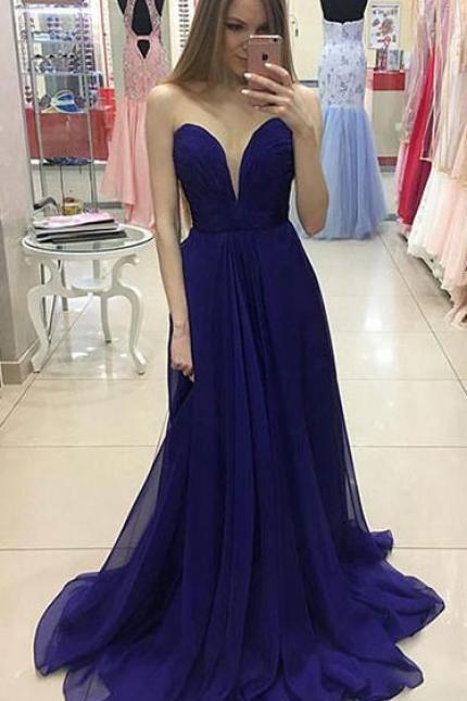 Sexy A-Line Prom Gown,Sweetheart Prom Dresses,Simple Prom Dresses,Cheap Prom Dress,Royal Blue Prom Dresses, Chiffon Prom Dresses, Long Prom Dress,Long Evening Dresses,Royal Blue Evening Dress,