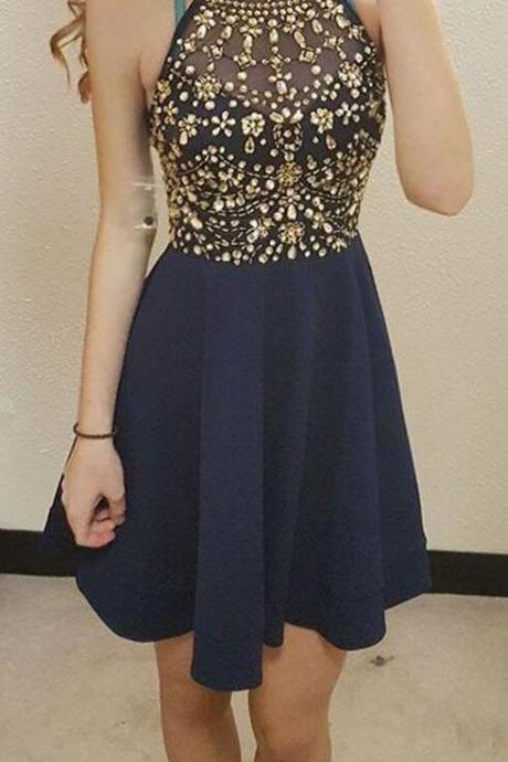 Navy Blue Short Homecoming Dress,Beading Homecoming Dresses,Short Prom Dresses,Halter Homecoming Dresses,Party Gowns,Sexy Homecoming Dresses,Short Homecoming Dress