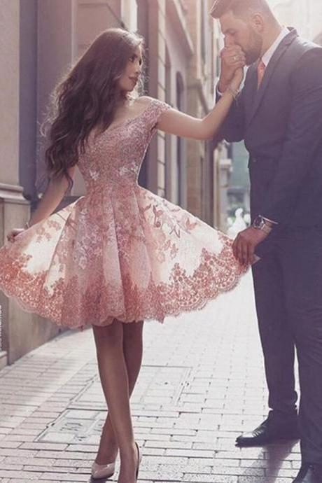 Blush Homecoming Dresses, Off-the-Shoulder Prom Dresses,Lace Homecoming Dress,Cheap Short Homecoming Dress, Short Prom Dress with Appliques,Pink Homecoming Dress