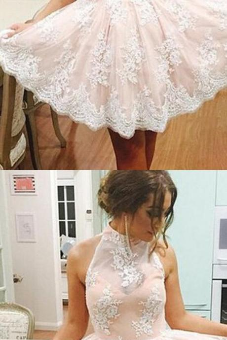 Cute Homecoming Dress, Elegant Prom Dress,High Neck Homecoming Dress, Short Prom Dress, Lace Homecoming Dresses, Homecoming Dress,Short Cocktail Dresses, Short Homecoming Dress