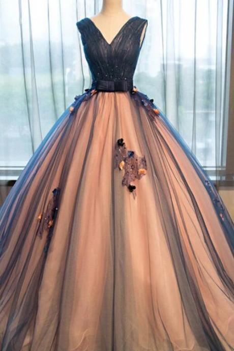 Sexy Prom Dress,Long Party Dress,Pretty Prom Dresses,tulle Prom Dresses,v-neck Prom Dresses with applique, A-line long evening dresses ,ball gown prom dress,Prom Dress