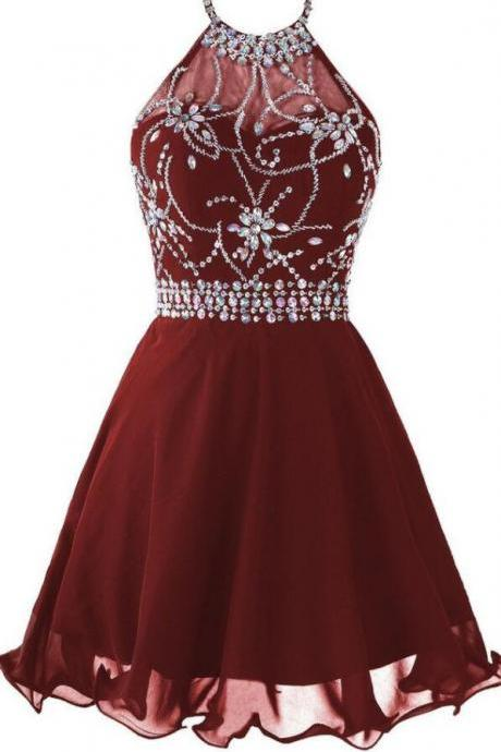 Cute Burgundy Homecoming Dresses,Sexy Homecoming Dress, Beading Homecoming Dress,Chiffon Homecoming Dresses,Halter Homecoming Dresses,Short Homecoming Dress