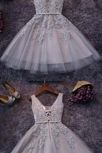 Beauty Gray Homecoming Dresses,Sexy Homecoming Dress,Tulle Homecoming Dresses,Appliqued Homecoming Dresses,Short Homecoming Dress,Lace Homecoming Dresses,Sweetheart Homecoming Dresses
