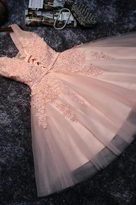 Lace Homecoming Dress With Appliques, Pretty Prom Dress,Cheap Homecoming Dress,Sexy Tulle Homecoming Dress,Princess Homecoming Dresses, Blush Pink Homecoming Dresses,Short Bridesmaid Dresses,Short Homecoming Dress