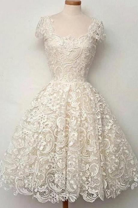 Cap Sleeves Homecoming Dresses,Ball Gown Homecoming Dress,Vintage Homecoming Dresses,A-line Homecoming Dresses,Lace Homecoming Dress,Ivory Homecoming Dresses,Short Homecoming Dress