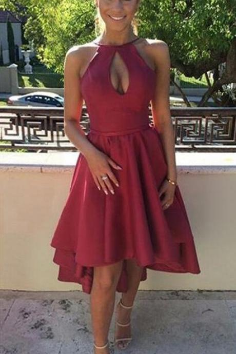 Scoop Neck Homecoming Dresses,Simple Cheap Homecoming Dress,Casual Homecoming Dresses,A-line Homecoming Dress,Satin Homecoming Dress,Asymmetrical Prom Dress,Burgundy Homecoming Dresses,Backless Homecoming Dresses,High Low Prom Dresses