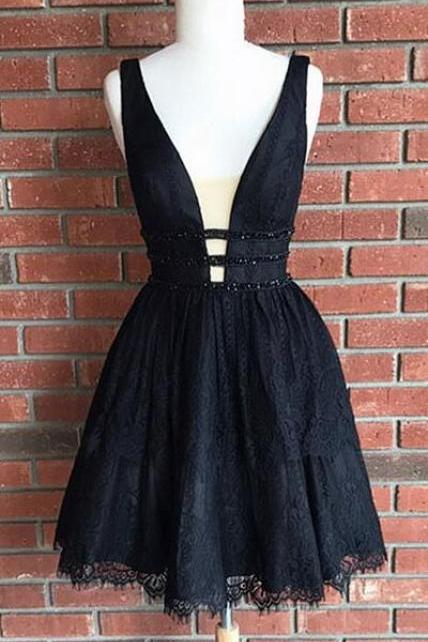 Sexy Homecoming Dress,Lovely Prom Dress,Cute Homecoming Dresses,Black Homecoming Dresses,Lace Homecoming Dress,Short Homecoming Dress,V Neck Party Dresses,Short Prom Dresses
