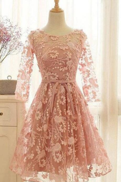 Lace homecoming dresses,short homecoming dresses,unique homecoming dresses,short prom dresses,pink homecoming dress,long sleeves homecoming dresses,short homecoming dresses,homecoming dress