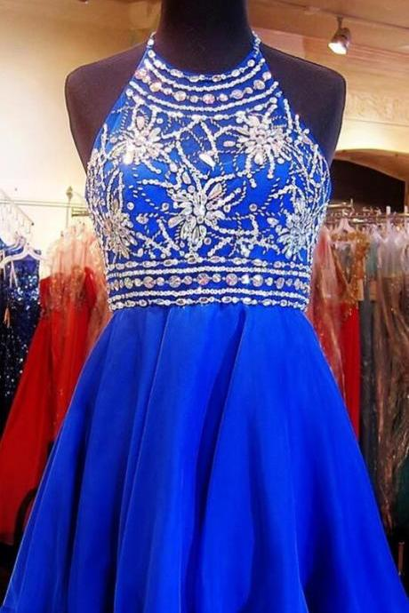 Sparkle Royal Blue Homecoming Dress,Chiffon Homecoming Dress,Beautiful Homecoming Gowns,Fashion Prom Gowns,Beaded Sweet 16 Dress,Homecoming Dresses,Cocktail Dresses