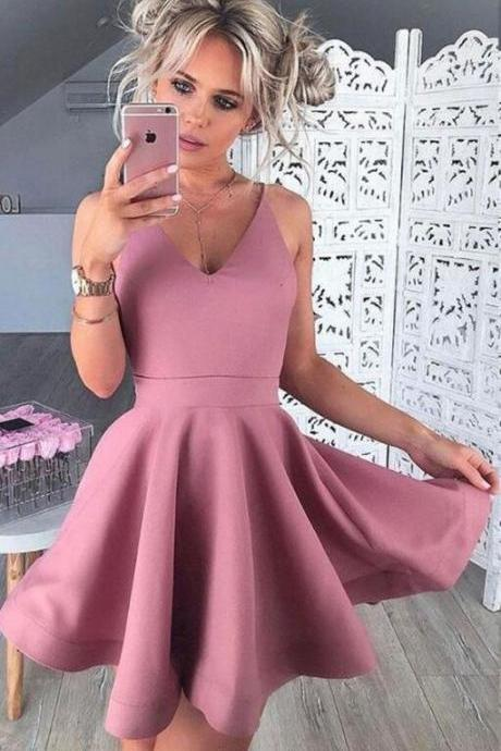 Sexy Satin Homecoming Dress,Cheap Homecoming Dress,Simple Homecoming Gown,V-neck Homecoming Dress,Mini Party Dresses,Short Prom Dresses,Girls Graduation Dresses,Cute Homecoming Dress