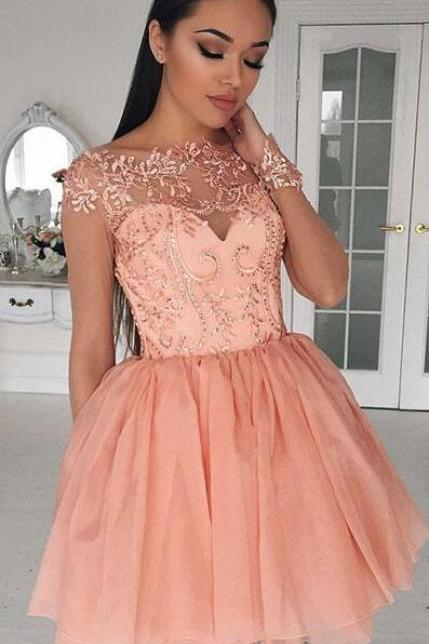 Cute Homecoming Dresses,A-Line Homecoming Dress,Cheap Cap Sleeves Homecoming Dresses,Tulle Lace Homecoming Dresses,Short Homecoming/Prom Dress