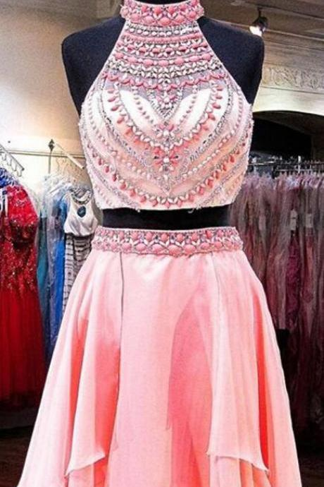 Two pieces prom dress,short prom dresses,Cheap Homecoming Dress,Sexy beading homecoming dresses, 2 Pieces homecoming dresses,Pink homecoming dress,high neck prom gowns