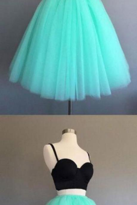 Sexy Homecoming Dress,Cheap Prom Dress,Short Homecoming Dress,Black and Blue Two Piece Prom Dresses,Tiered Tulle Prom Party Dresses 2018