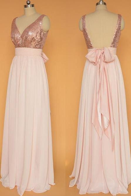 Rose Gold Chiffon Prom Dress, A-line Floor-length Prom Dress ,featuring Sequinned Bodice and a Back Bow Prom Dress,Sexy Chiffon Prom Dress